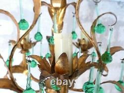 Vintage Chandelier RARE Green glass Drops Gilded Metal from MURANO 1960's