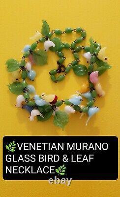 Vintage Dainty Venetian Murano Glass Bird & Leaf Bead Collar Necklace 15