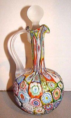 Vintage Decora Imports Murano Glass Millefiori Cruet