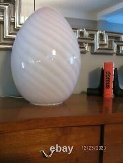 Vintage EGG maestri Murano Vetri Italian Art Glass Pink Swirl Table Lamp 18 H