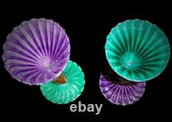 Vintage Exceptional Pair Large Italian Signed Murano Venetian Art Glass Goblets