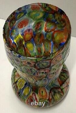 Vintage Fratelli Toso Colorful Millefiori Murano Art Glass Vase 6-3/4 Tall