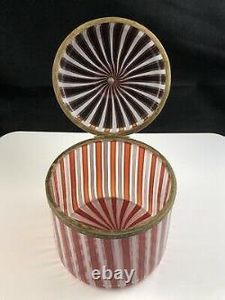 Vintage Fratelli Toso Murano Eames Era Mezza Filigrana Covered Hinged Box