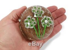 Vintage Fratelli Toso Murano Italian Art Glass Paperweight Millefiori Flowers