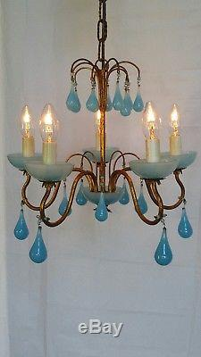 Vintage French Blue Opaline Chandelier 5Lt Murano Glass Drops Free Ship to USA