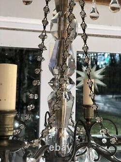Vintage French Glass Clear Murano Crystal Drops Macaroni Beaded Chandelier 18