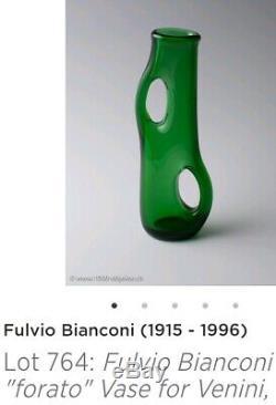 Vintage Fulvio Bianconi Murano Art Glass Forato Vase For Venini Labeled