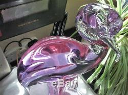 Vintage Glass Murano Heron Alexandrite Signed Zanetti Lilac Pink Glow 13 High