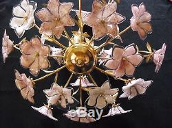 Vintage Gold Italian Murano Venini Art Glass chandelier and 2 table lamp