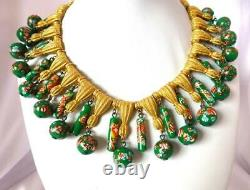 Vintage Gold Tone TRIFARI Necklace withDangling Murano Millefiore Glass Beads-RARE