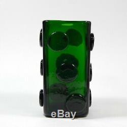 Vintage Green Murano Square Glass Vase Applied Discs Domino Italian 70s Scorpion