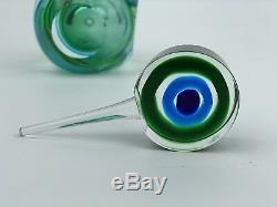 Vintage Green Swirl Murano Sommerso Glass Perfume Bottle
