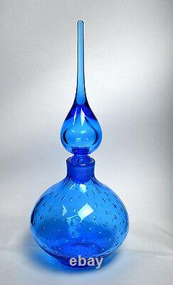 Vintage HAND BLOWN Art Glass Bottle Murano Decanter Italy (RF-FR12)