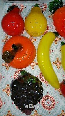 Vintage Hand Blown Glass Fruit and Vegetables Murano Art Deco Lot 18 Pcs