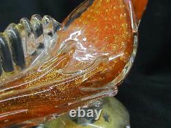 Vintage Hand Blown Italian Murano Glass Orange & Gold Fleck 12.5 BIRD Figurine