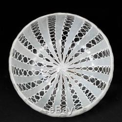 Vintage Hand Blown Murano Glass Bowl w. White Latticino Zanfirico 7.5D x 3.5T