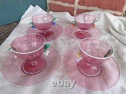 Vintage Hand Blown Venetian Murano Art Glass Applied Flowers Pink Sherbet Set