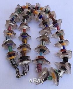 Vintage Hand Blown Venetian Murano Glass Bead Sterling Bracelet & Necklace