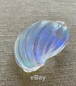 Vintage Hand Cast Dichroic Glass Paperweight Sea Shell Island Of Murano Italy