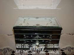 Vintage Hand Etched Murano Mirror Italian Venetian Glass/Wood Jewelry/Vanity Box