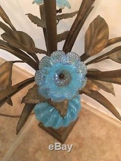 Vintage Italian 1960's Blue Murano Glass Lamp with Blue Opaline Glass Flowers