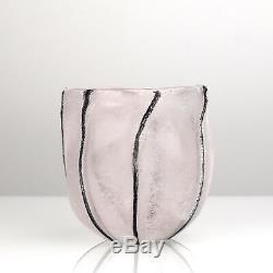 Vintage Italian Art Glass Cenedese Murano A Scavo Vase Mid Century Modern