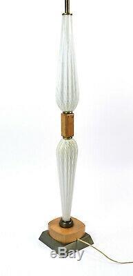 Vintage Italian Art Glass Floor Lamp Murano White w Gold Aventurine Bullicante