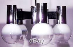 Vintage Italian Chandelier Space Age Glass Globe Sixties Sputnik Design 60s 70s