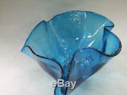 Vintage Italian Murano Art Glass Blue Handkerchief Big Bowl Retro 1950's
