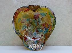 Vintage Italian Murano Art Glass Cigar Ashtray Candy Dish Bowl Multi-Colored EXC