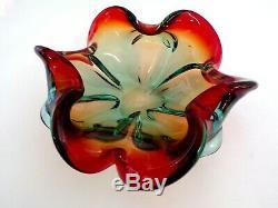 Vintage Italian Murano Art Glass Cigar Ashtray Red/ Teal Swirl Candy Dish Bowl