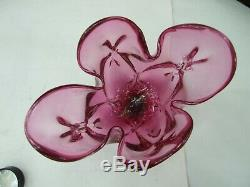 Vintage Italian Murano Art Glass Pink Cranberry Handkerchief Vase Retro 60's