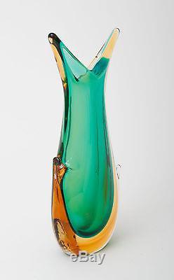 Vintage Italian Murano Art Glass Sommerso Ears Vase Seguso Flavio Poli
