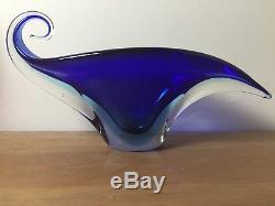 Vintage Italian Murano Art Glass Sommerso Vase Bowl