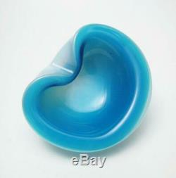 Vintage Italian Murano Blue Opalescent Alabastro Cased Glass Geode Bowl Seguso