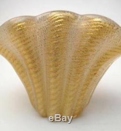 Vintage Italian Murano Borovier & Toso Cordonato D'oro Gold Cased Art Glass Vase