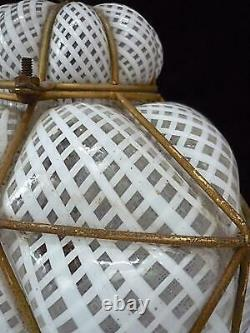 Vintage Italian Murano Caged Glass Hanging Pendant Lamp White Latticino 15