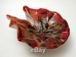 Vintage Italian Murano Cased Avem Aventurine Art Glass Dish MID Century