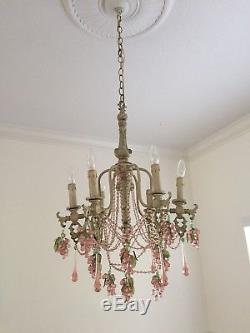 Vintage Italian Murano Chandelier with Pink Grapes And Glass Beads