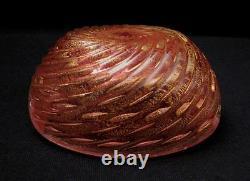 Vintage Italian Murano Cranberry Pink Gold Aventurine Bullicante Art Glass Bowl