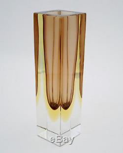 Vintage Italian Murano Faceted Art Glass Vase Amber Tones Mandruzzato Sommerso