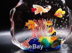Vintage Italian Murano Glass Aquarium Six Fish 6x7 Sculpture Paperweight