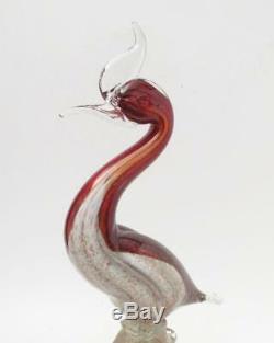 Vintage Italian Murano Glass Bird Figure Sculpture Copper Aventurine Art