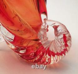 Vintage Italian Murano Glass Cornucopia Vase Vibrant Orange MID Century Modern