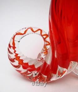 Vintage Italian Murano Glass Cornucopia Vase Vibrant Red MID Century