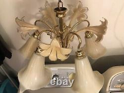 Vintage Italian Murano Glass Flower Cala Lilly Petal Shade Chandelier