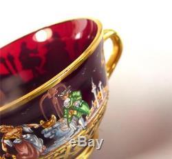 Vintage Italian Murano Glass Teaset Commedia Dell'arte Enamel Figures