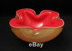 Vintage Italian Murano Glass Tripe Layer Cased Geode Art Bowl MID Century