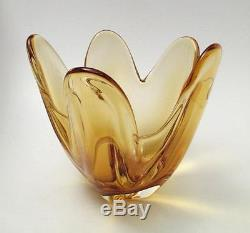 Vintage Italian Murano Golden Amber Art Glass Vase MID Century Eames Era
