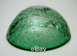 Vintage Italian Murano Green Bullicante & Silver Aventurine Art Glass Geode Bowl